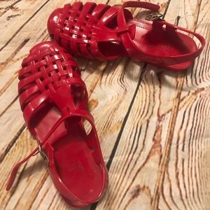 Kali Red Jelly Sandles.  Girls 13. Used